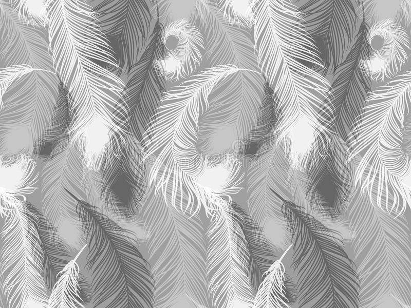Black and white seamless feather pattern. Seamless background with beautiful feathers of bird royalty free illustration