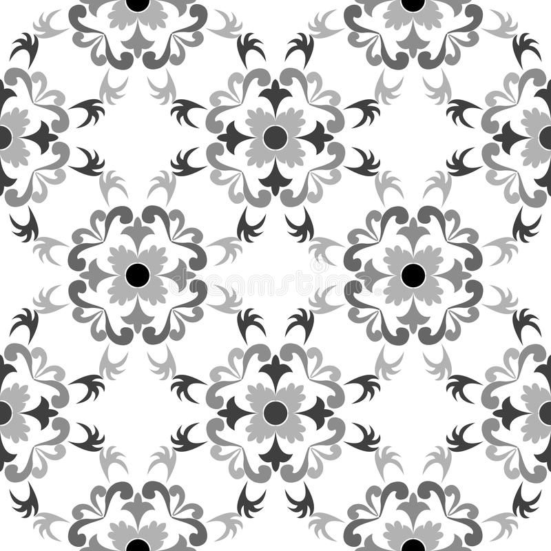 Black and white seamless floral pattern royalty free stock images