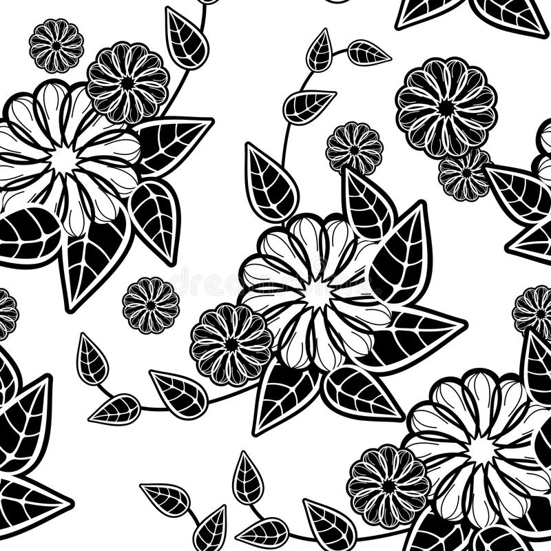 Black and white seamless floral pattern. Raster clip art. Black and white seamless floral pattern. Abstract beautiful flowers silhouettes. Raster clip art vector illustration