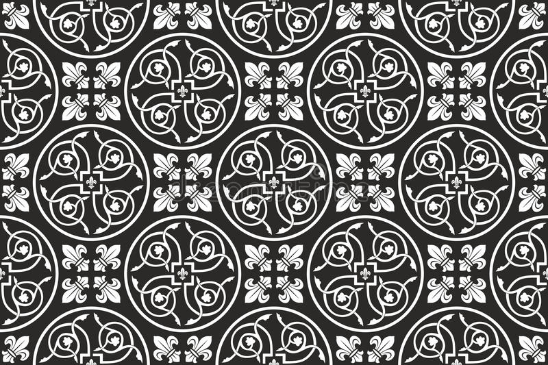 Black-and-white seamless gothic floral pattern