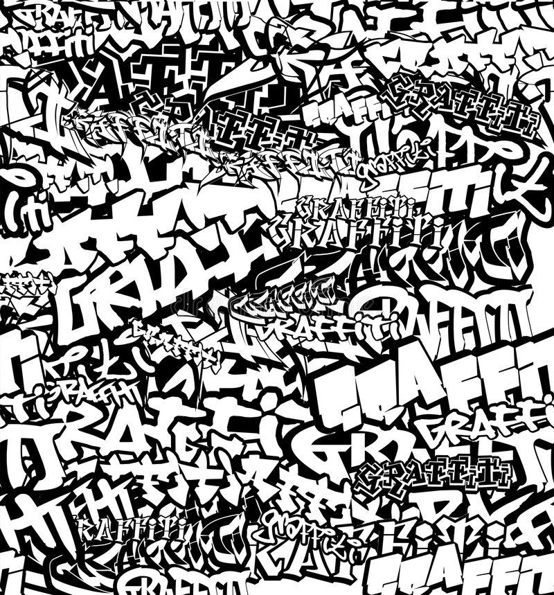 Black White Seamless Graffiti royalty free illustration