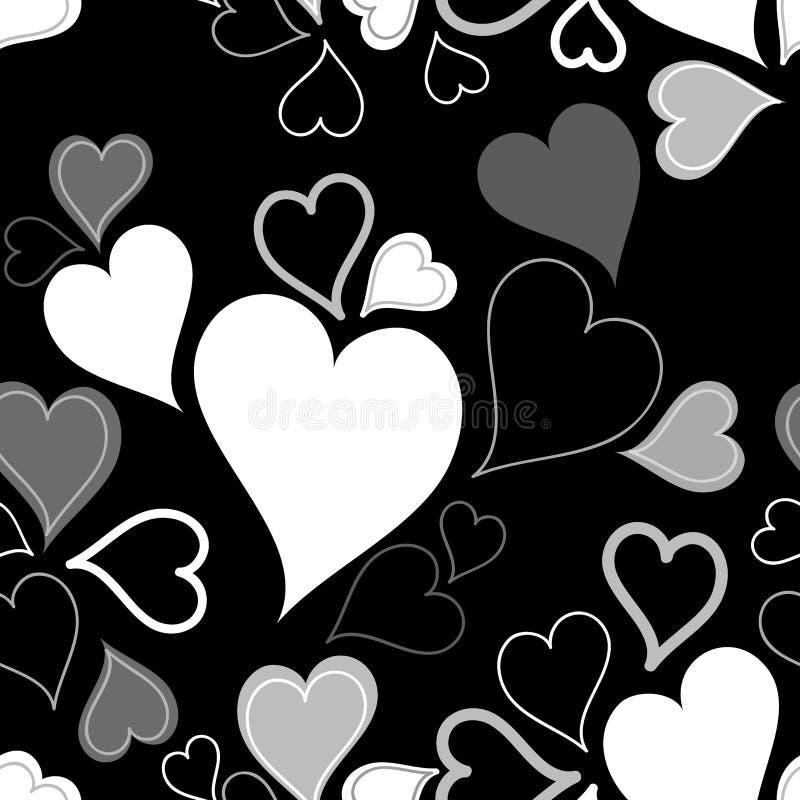 Black & white seamless hearts pattern or backgroun vector illustration