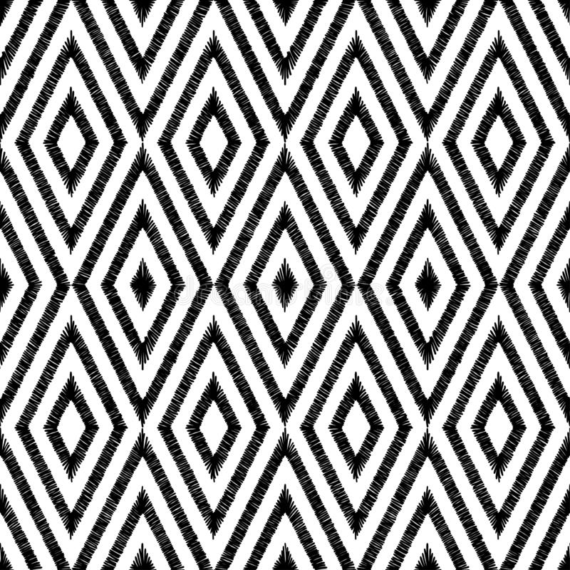 Black and white seamless ikat pattern. The embroidered print for textiles. Geometric ornament. Ethnic and tribal motifs. Vector stock illustration