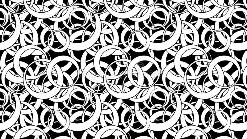 Black and White Seamless Overlapping Circles Pattern Vector Illustration. Beautiful elegant Illustration graphic art design stock illustration