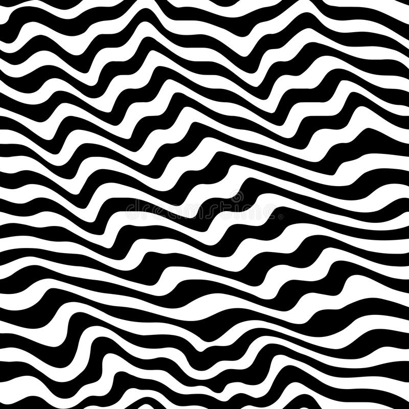 Black & white seamless pattern with abstract curved lines vector illustration