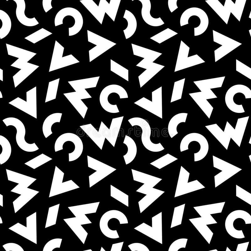 Black and White Seamless Pattern with Abstract Scattered Symbols. Vector Background with Stylized Letters vector illustration