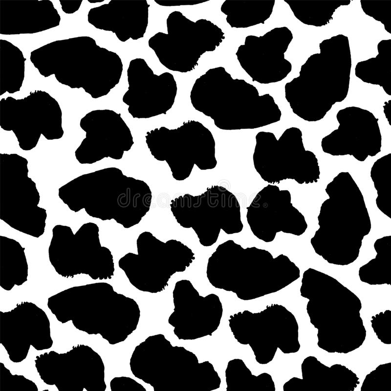 Black and white seamless pattern with blots. Animal print. Cow texture. Endless abstract background with simple elements. Vector royalty free illustration