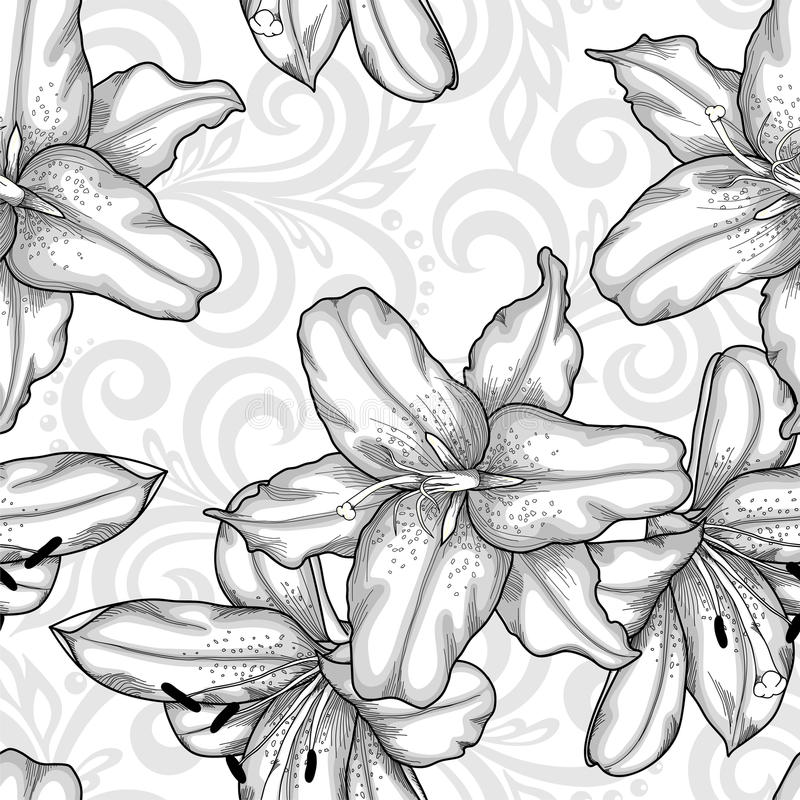 Black and white seamless pattern with blue lilies flowers and abstract floral swirls vector illustration