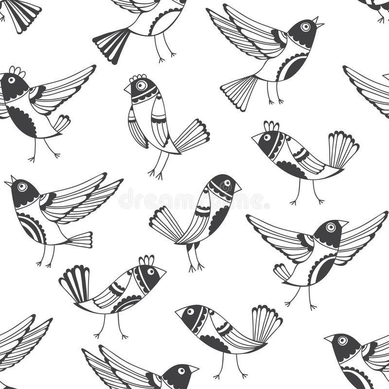 Black and white seamless pattern with cartoon birds. Vector doodle background with cute hand-drawn birds. vector illustration