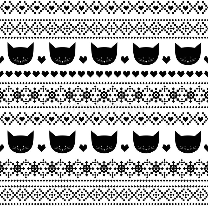 Black and white seamless pattern with cats for kids holidays. Scandinavian sweater style. vector illustration