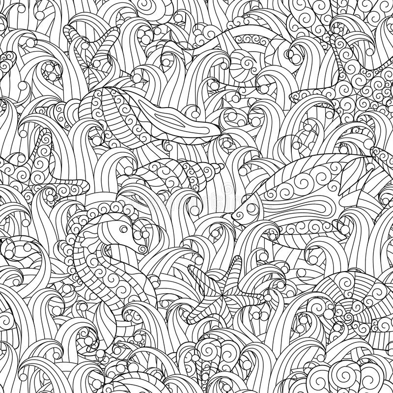 Black and white seamless pattern for coloring book. Sea life. Black and white seamless pattern for coloring book. Sea shells, starfish, sea horse, fish between vector illustration