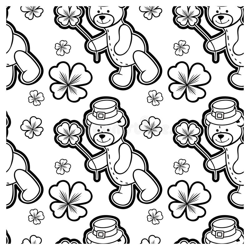 Black and white seamless pattern with contour of teddy bear. Raster clip art. Black and white seamless pattern with contour of teddy bear wearing leprechaun hat royalty free illustration