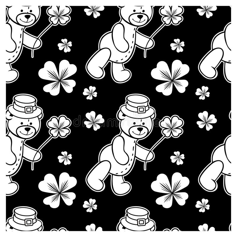 Black and white seamless pattern with contour of teddy bear. Wearing leprechaun hat. Raster clip art stock illustration