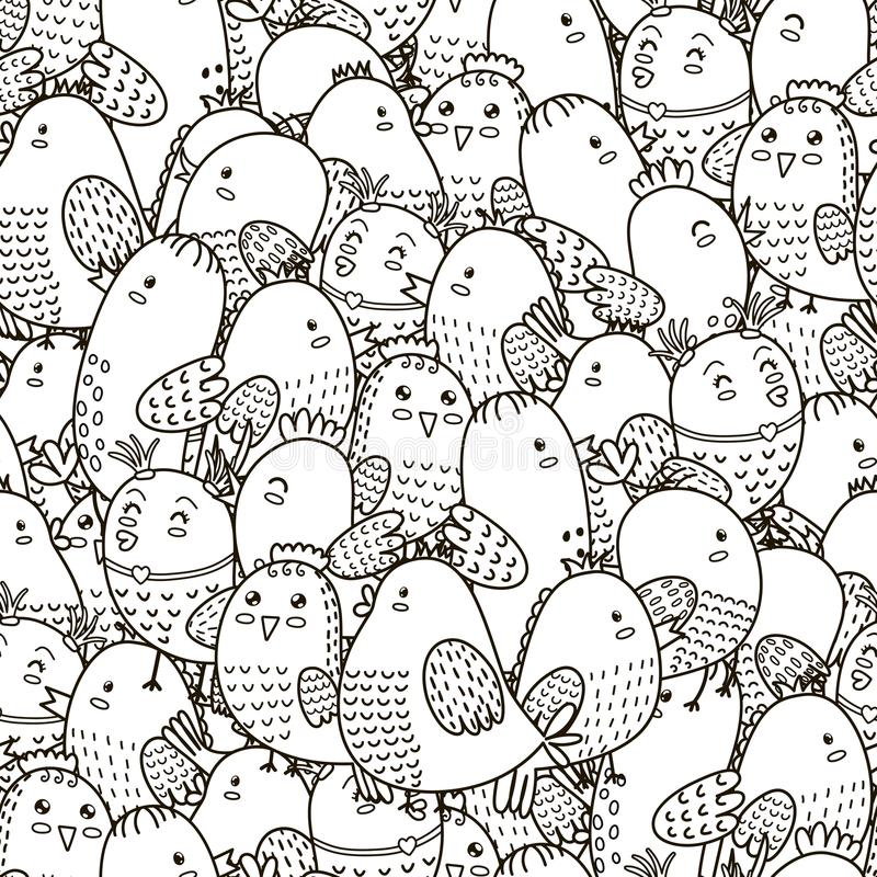 Black and white seamless pattern with cute birds royalty free illustration