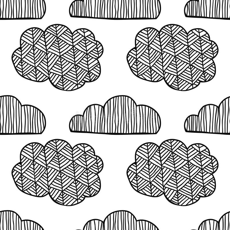 Black and white seamless pattern with decorative clouds for coloring. Black and white seamless pattern with decorative clouds for coloring book. Vector stock illustration