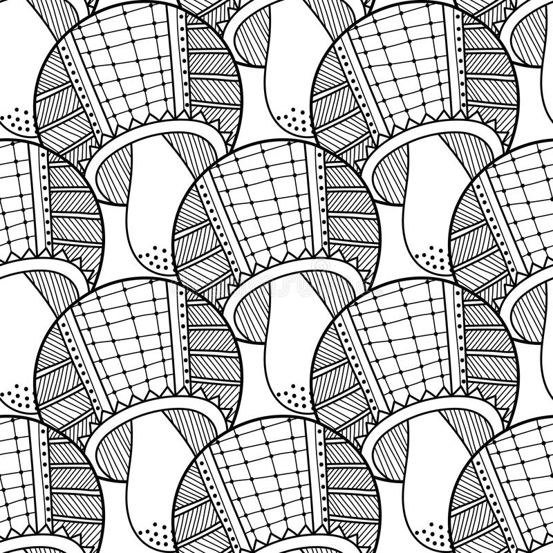 Black, white seamless pattern with decorative mushrooms for coloring book. Black and white seamless pattern with decorative mushrooms for coloring book royalty free illustration