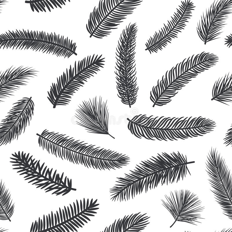 Black and white seamless pattern with fir pine evergreen conifer twigs. Branches stock illustration