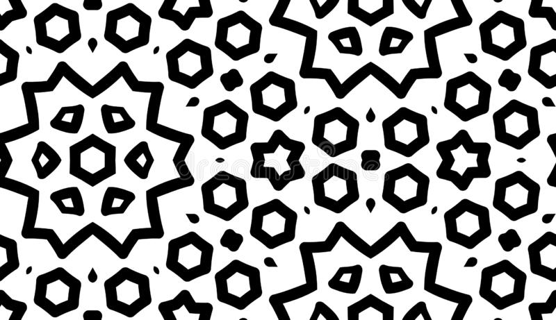 Black and white seamless pattern with floral and geometric ornament royalty free illustration