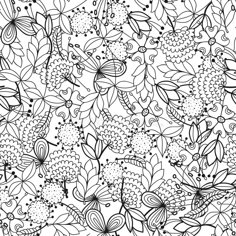 Black And White Seamless Pattern With Flowers, Leaves For Coloring ...