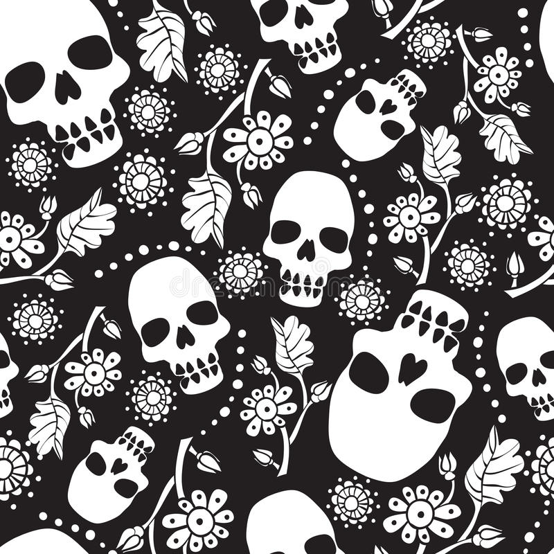 Black and white seamless pattern with flowers and skulls. Black background. Stock vector illustration royalty free illustration