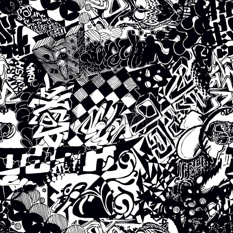 Download Black And White Seamless Pattern Graffiti Sticker Bombing Stock Vector
