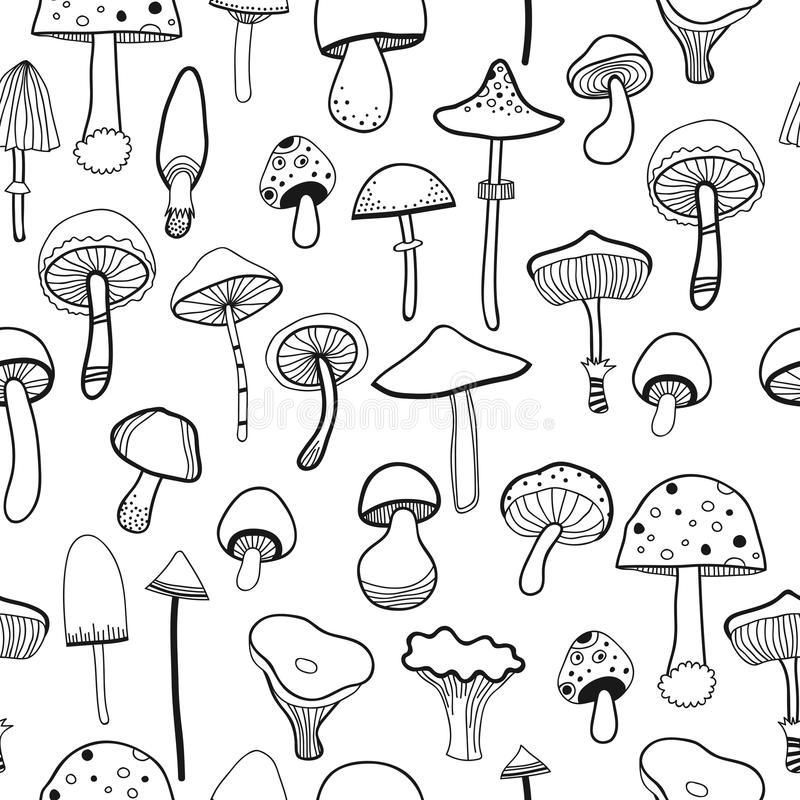 Black and white seamless pattern mushrooms for coloring book. Vector stock illustration