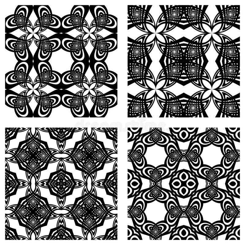 Black and white seamless patterns royalty free illustration