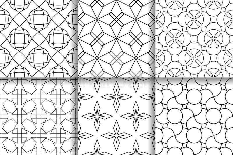 Black and white seamless patterns. Geometric backgrounds royalty free illustration