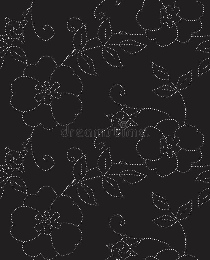 Eglantine Black and White Seamless Vector Pattern vector illustration