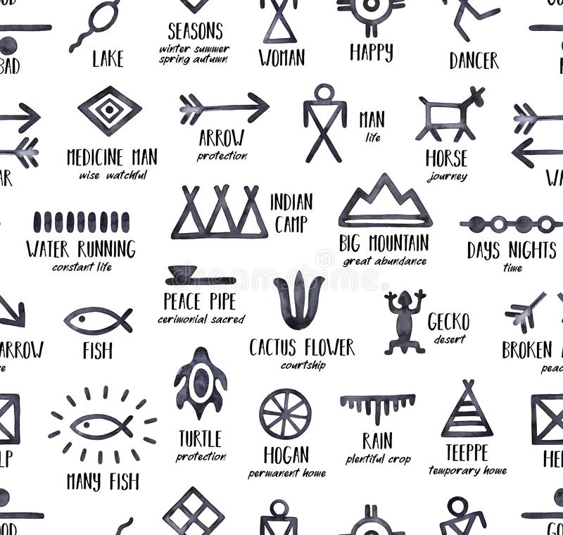 Black and white seamless repeatable pattern with Native American Symbols and their meanings. stock illustration