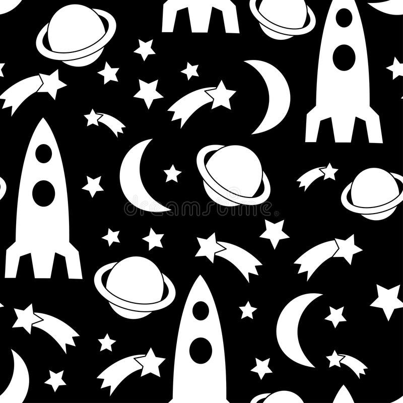 Black and white seamless space pattern. Cosmic background with stars, planet, spaceship, rocket, moon. royalty free illustration