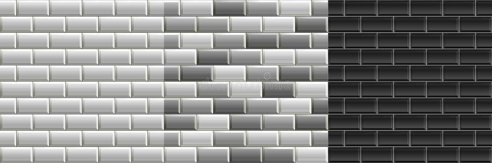 Black and white seamless textures of subway tiles. Set of vector grayscale bricks wall royalty free illustration