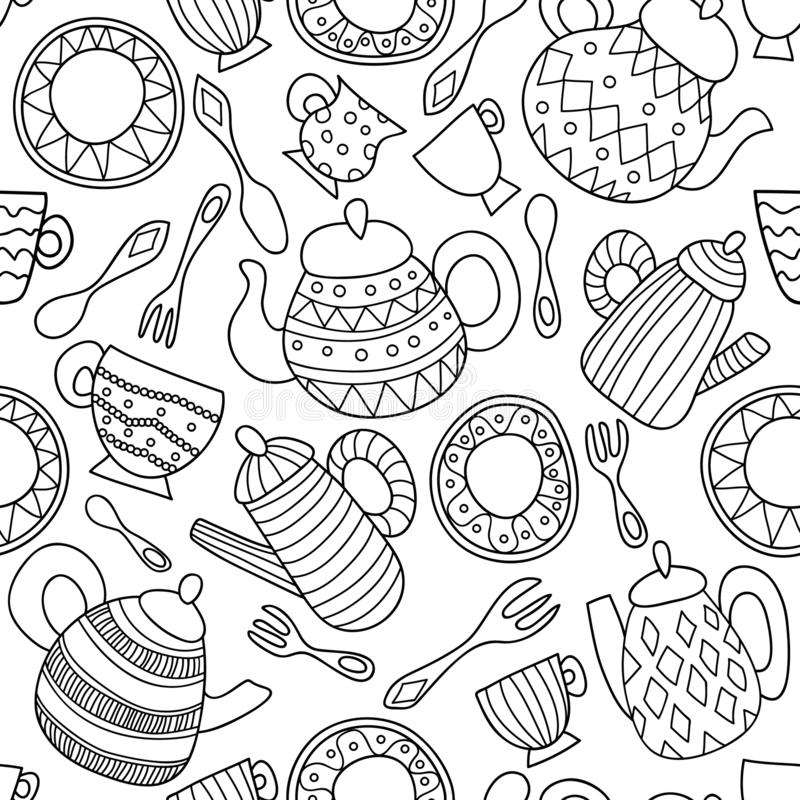 Black and white seamless vector pattern with utensil royalty free illustration