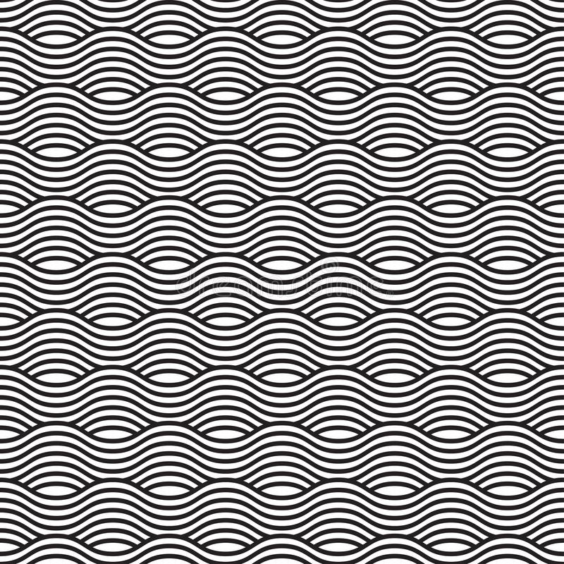 Black and white seamless wave pattern, linear design. Vector illustration vector illustration