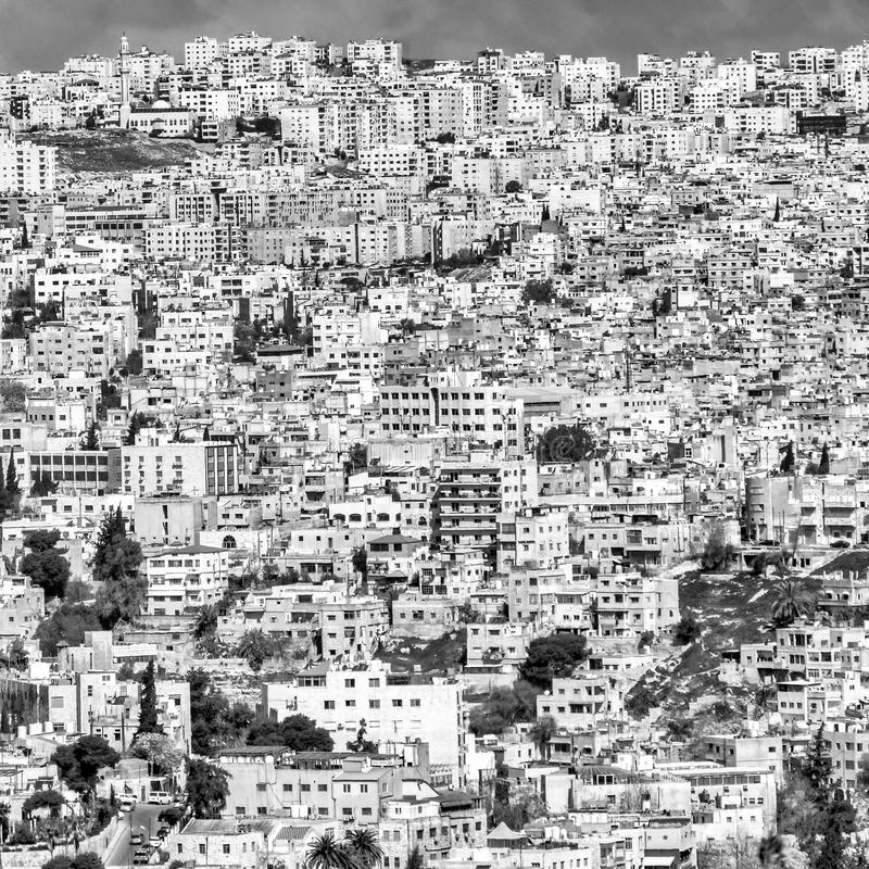 Black and white section of a view of Amman, the ugly overcrowded capital of Jordan.  royalty free stock images