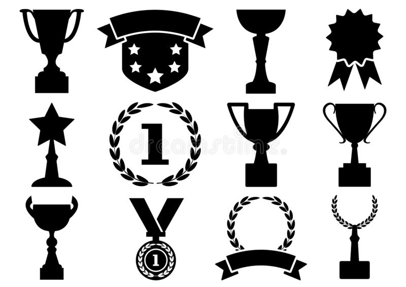 Black and white set awards and cups, vector vector illustration