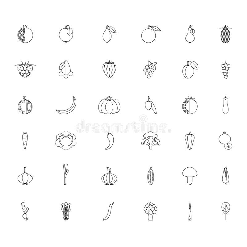 Black and white set fruits and vegetables line hand drawn icons royalty free illustration