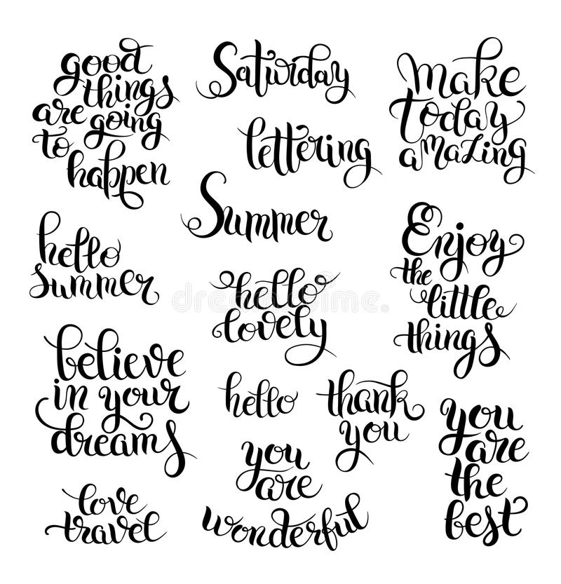 Black and white set of hand written calligraphic lettering phrases and words. Hello lovely, enjoy the little things, love travel, thank you, you are the best vector illustration