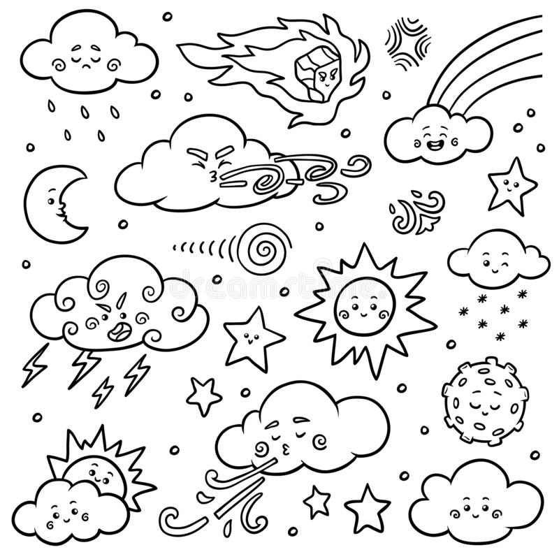 Black and white set of nature objects. Vector cartoon collection of weather icons stock illustration