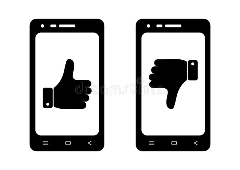 Black and white set phones with symbols thumb up and down. Vector illustration vector illustration