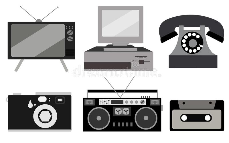 Black and white set of retro electronics, technology. Old, vintage, retro, hipster, antique kinescope TV, computer with floppy, di. Sk phone, camera, cassette royalty free illustration
