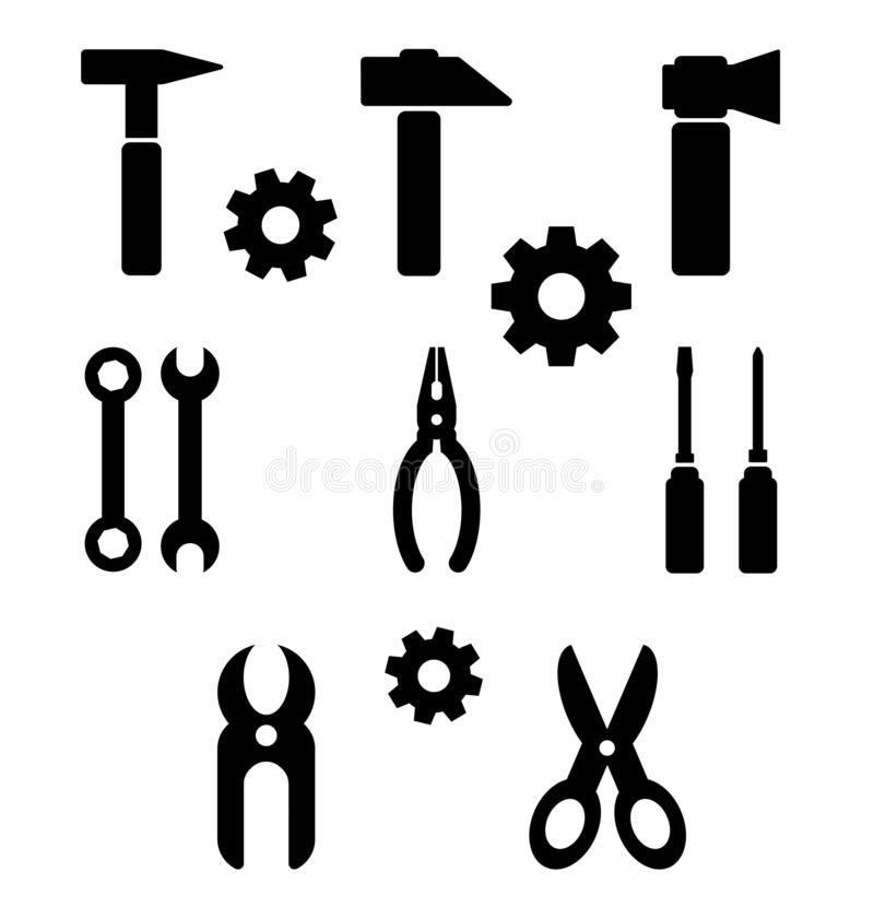 Black and white set of tools,  royalty free illustration