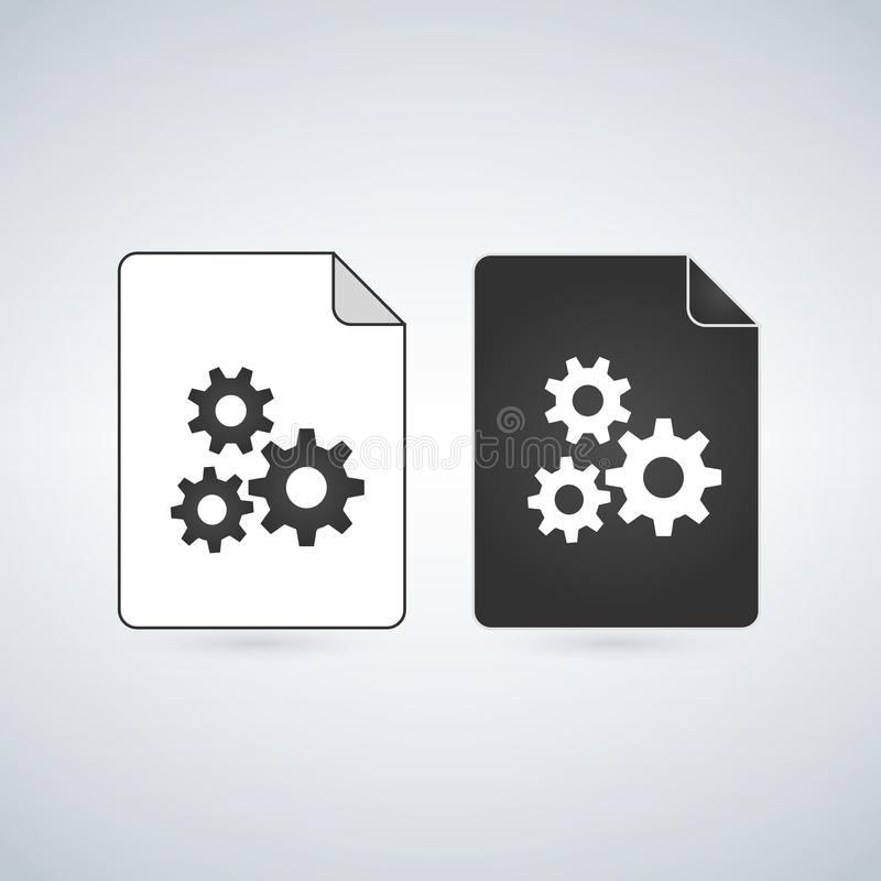 Black and white settings gears File Icon, vector illustration isolated on white background. Black and white settings gears File Icon, vector illustration vector illustration