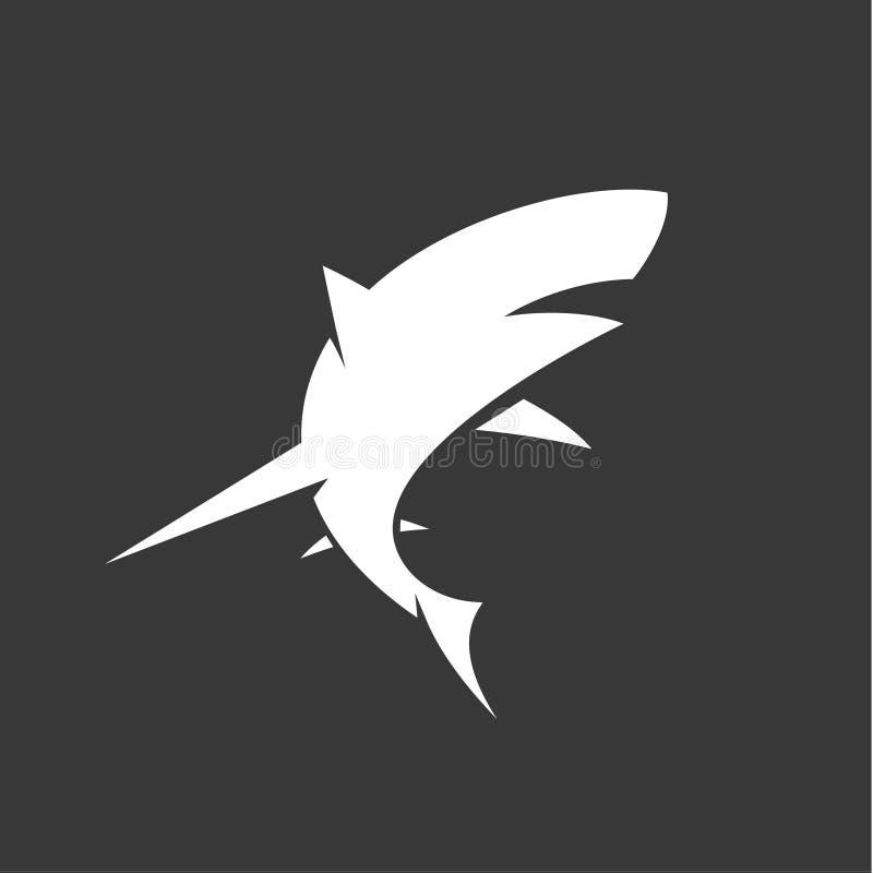 Black and White Shark logo with minimalism illustration of marine animals. Art stock illustration