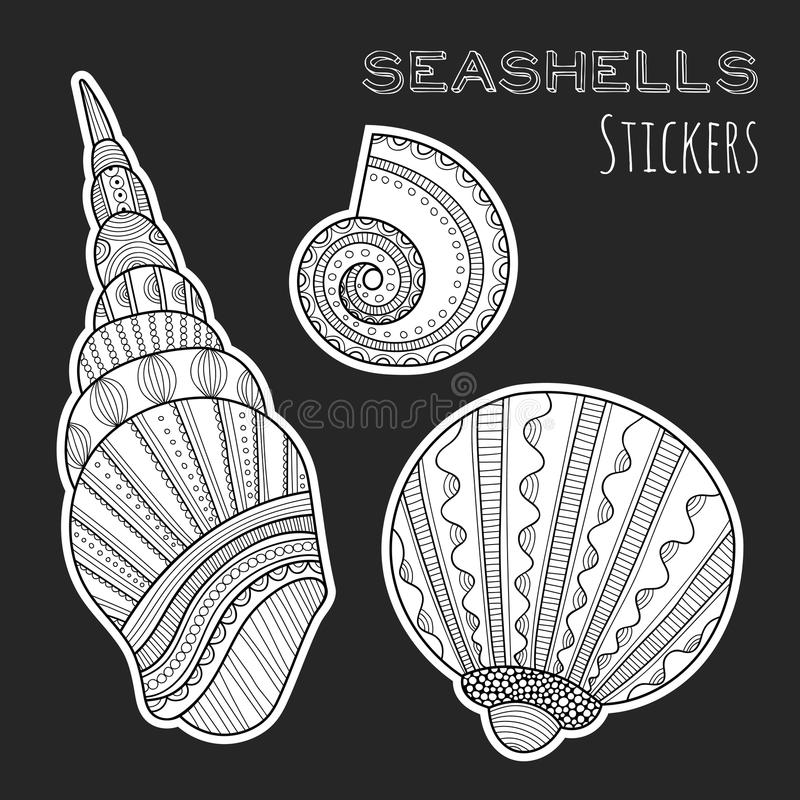 Black, white shell. Stickers on black background. Sea life. Black and white shell. Stickers on black background. Sea. Marine life. Vector illustration vector illustration