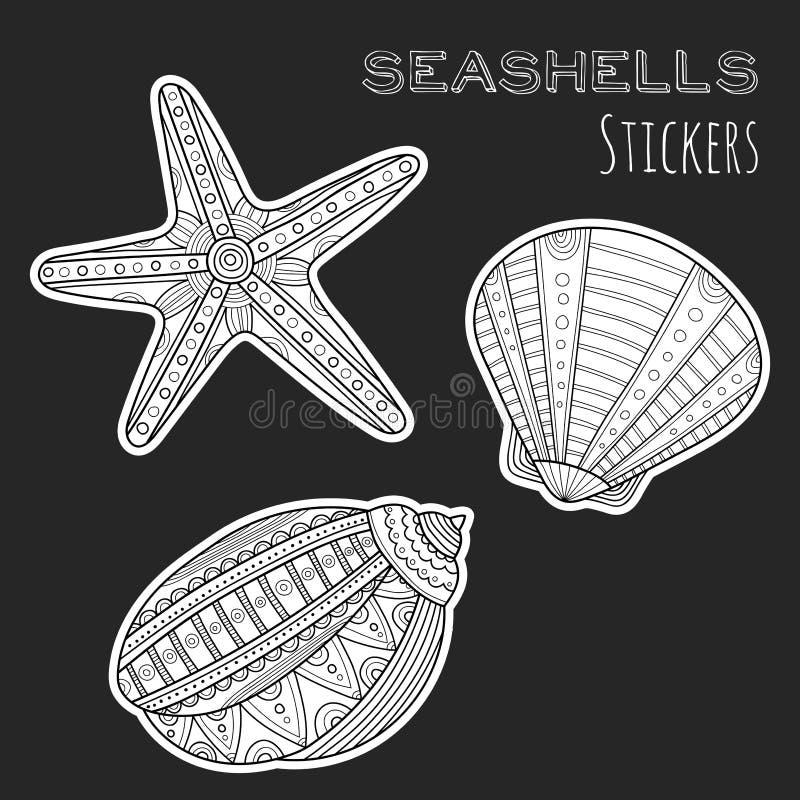 Black, white shell. Stickers on black background. Sea life. Black and white shell. Stickers on black background. Sea. Marine life. Vector illustration stock illustration