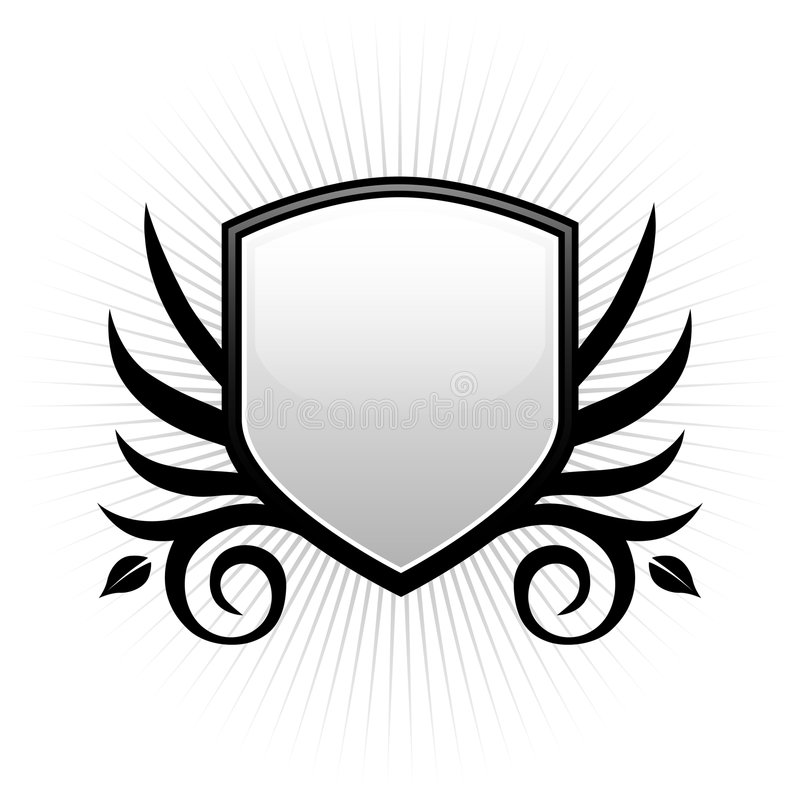 Black & white shield emblem stock illustration