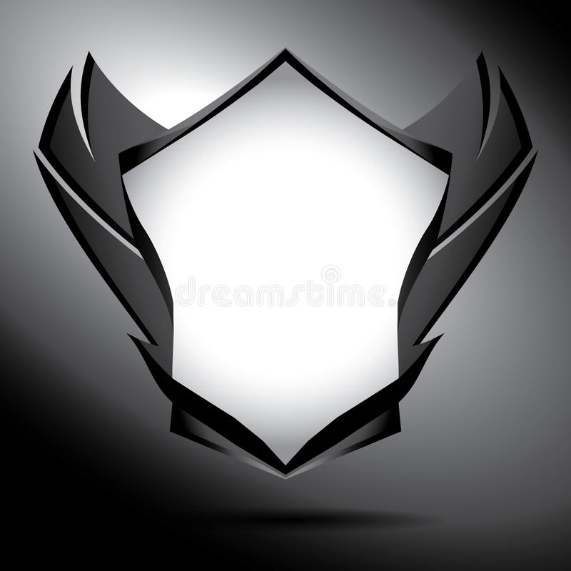 Black and white shield with wings. Precisely illustrated unique dark shield and wings