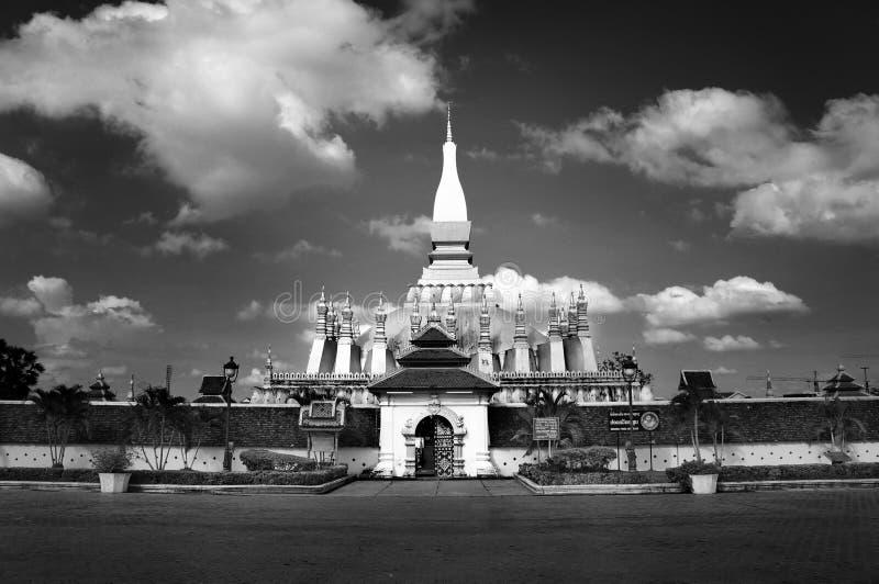 Black and White shot of Laos pagoda temple. Black and White shot of pagoda at Wat thra that Luang ,Vieng Chan, Laos stock images