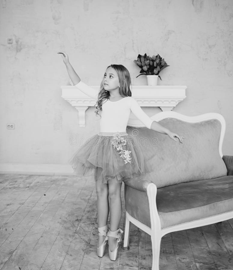 Black and white shot of a little ballerina stock photos